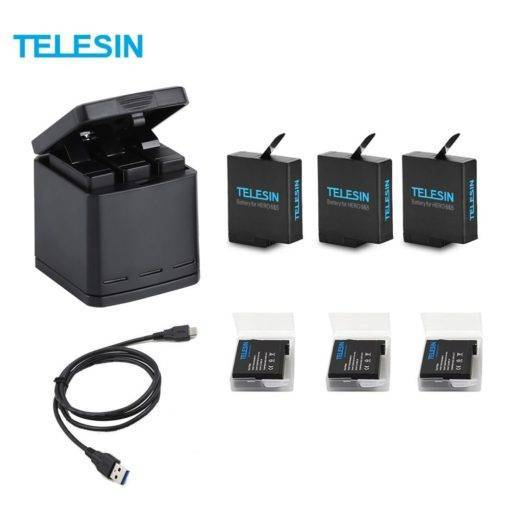 TELESIN 3 Yuvalı GoPro Şarj Kutusu 3 Pil GoPro Hero 5 6 7 Tüm Ürünler GoPro Özel Tüketici Elektroniği Kamera & Fotoğraf Aksiyon Kamera Aksesuarları