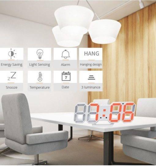 Lİ&TAİ 3D LED Duvar Saati Modern Tasarım Dijital Masa Saati Tüm Ürünler Ev Aletleri