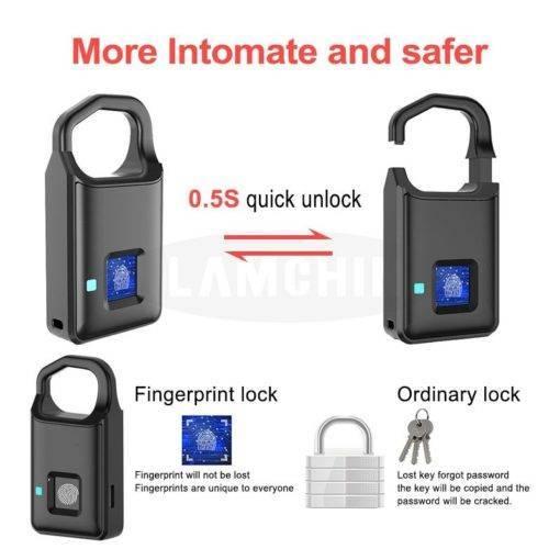 LAMCHINSTAR Anahtarsız Akıllı Kilit Anti-Hırsızlık Parmak İzli Asma Kilit Tüm Ürünler Koleksiyonumuz Pratik Yaşam