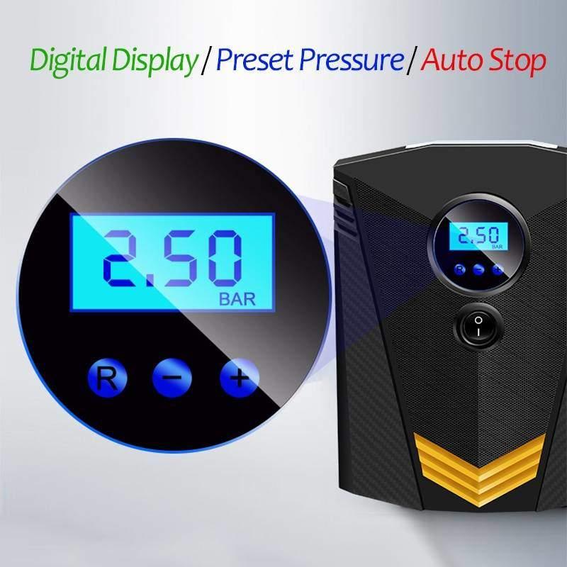 Taşınabilir araba hava kompresörü DC 12V dijital lastik şişirme hava pompası 150 PSI otomatik hava pompası araba motosiklet için LED ışık lastik pompası
